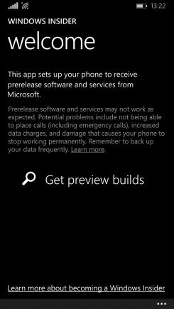 запускаем утилиту Windows Insider и нажать на кнопку «Get preview builds